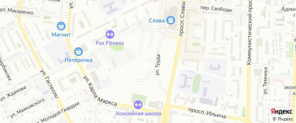 Улица Фонвизина на карте Копейска с номерами домов