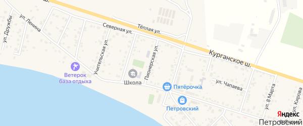 Пионерская улица на карте Петровского поселка с номерами домов