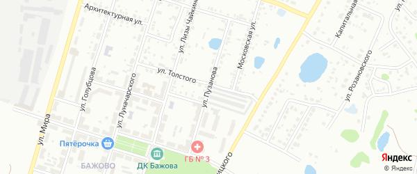 Улица Пузанова на карте Копейска с номерами домов