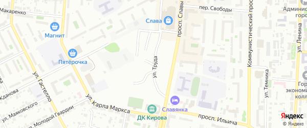Улица Труда на карте Копейска с номерами домов