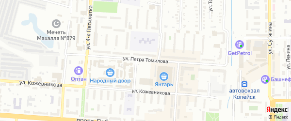 Улица Томилова на карте Копейска с номерами домов