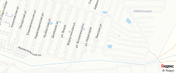 Улица Новаторов на карте Копейска с номерами домов