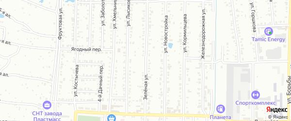 Зеленая улица на карте Копейска с номерами домов
