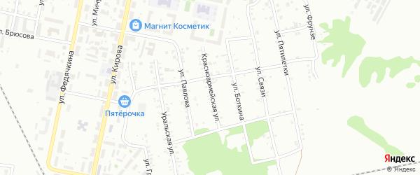 Красноармейская улица на карте Копейска с номерами домов