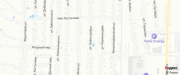 Улица Новостройка на карте Копейска с номерами домов
