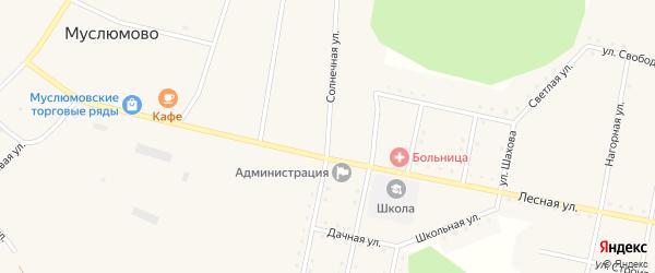 Солнечная улица на карте железнодорожной станции Муслюмово с номерами домов