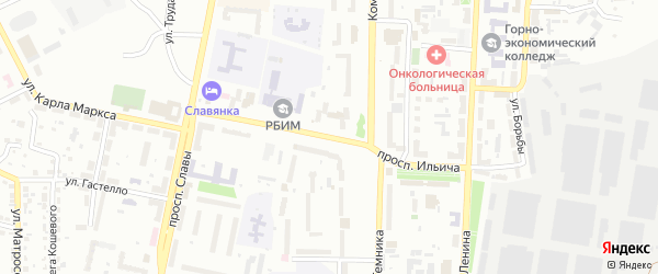 Проспект Ильича на карте Копейска с номерами домов