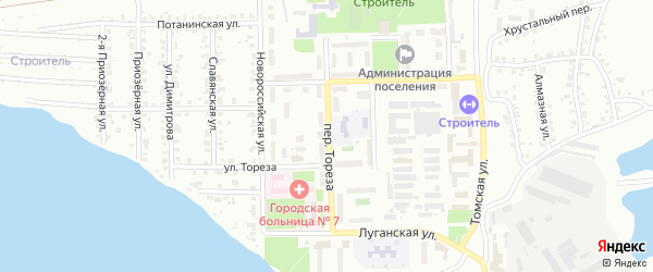 Переулок Тореза на карте Копейска с номерами домов