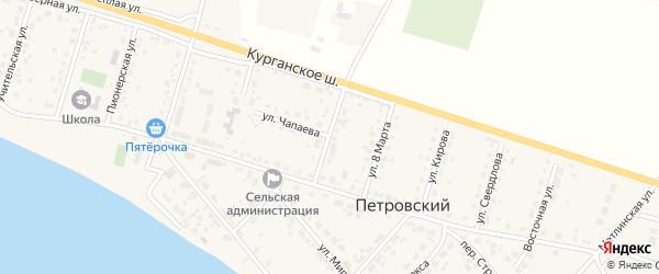 Комсомольская улица на карте Петровского поселка с номерами домов