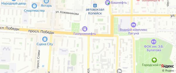 Литейный переулок на карте Копейска с номерами домов
