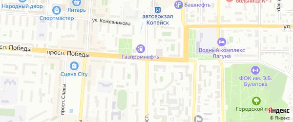 Колхозный переулок на карте Копейска с номерами домов