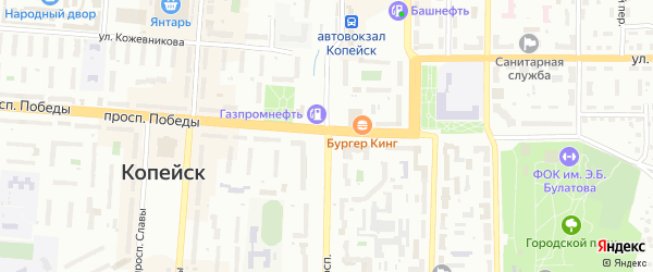 Переулок Пузанова на карте Копейска с номерами домов