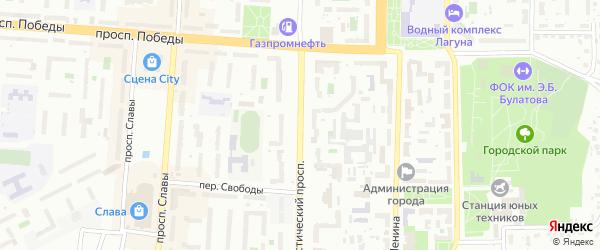Коммунистический проспект на карте Копейска с номерами домов