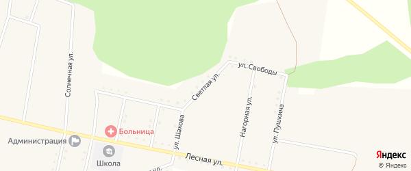 Светлая улица на карте железнодорожной станции Муслюмово с номерами домов