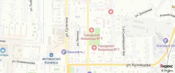 Улица Борьбы на карте Копейска с номерами домов