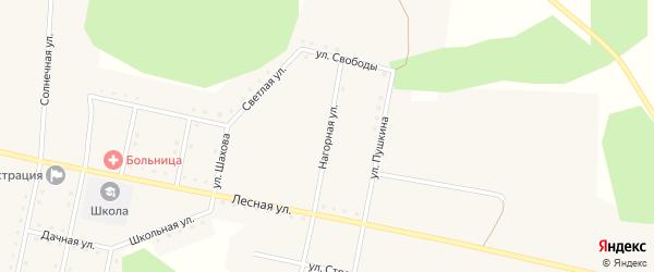 Нагорная улица на карте железнодорожной станции Муслюмово с номерами домов