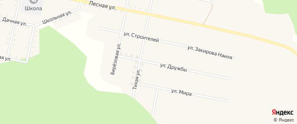 Улица Дружбы на карте железнодорожной станции Муслюмово с номерами домов