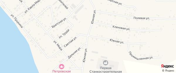 Южная улица на карте Петровского поселка с номерами домов