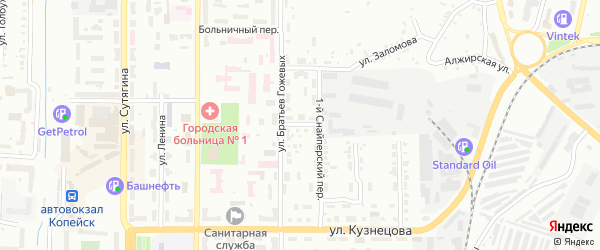 Улица Гайдара на карте Копейска с номерами домов