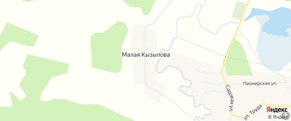 Карта деревни Малой Кызылова в Челябинской области с улицами и номерами домов
