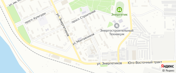 Улица Монтажников на карте Троицка с номерами домов