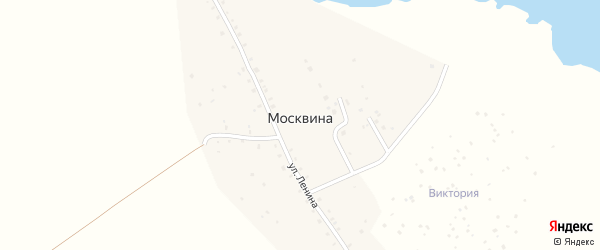 Озерная улица на карте деревни Москвина с номерами домов
