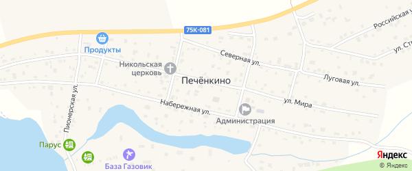 Российская улица на карте деревни Печенкино с номерами домов