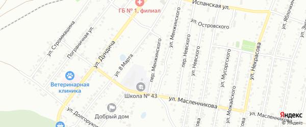 Переулок Менжинского на карте Копейска с номерами домов