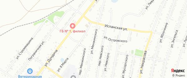 Улица Менжинского на карте Челябинска с номерами домов
