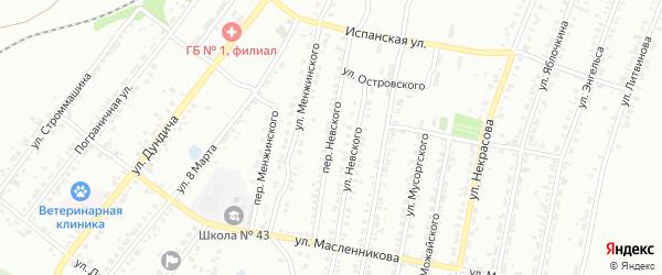 Переулок Невского на карте Копейска с номерами домов