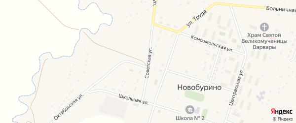 Советская улица на карте села Новобурино с номерами домов
