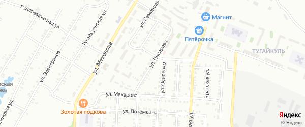 Улица Писарева на карте Копейска с номерами домов