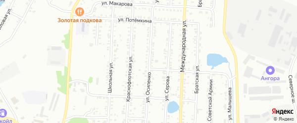 Улица Осипенко на карте Копейска с номерами домов
