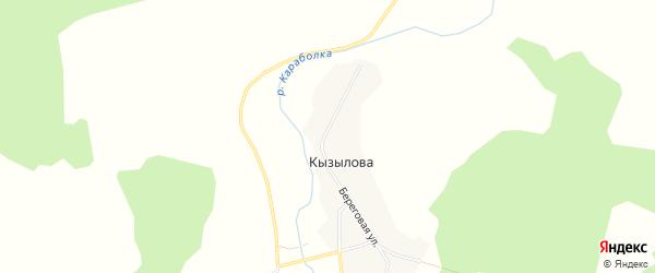 Карта деревни Кызылова в Челябинской области с улицами и номерами домов