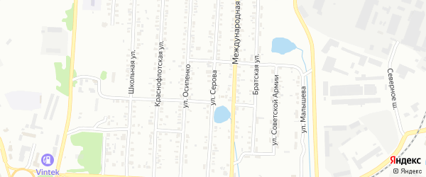 Улица Серова на карте Копейска с номерами домов