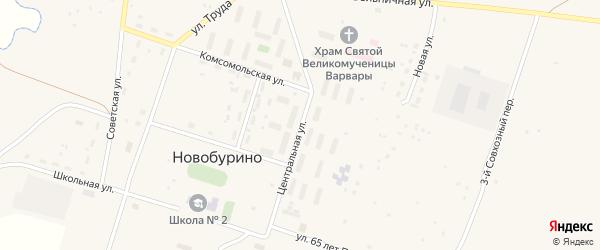 Центральная улица на карте села Новобурино с номерами домов