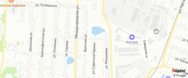 Улица Советской Армии на карте Копейска с номерами домов
