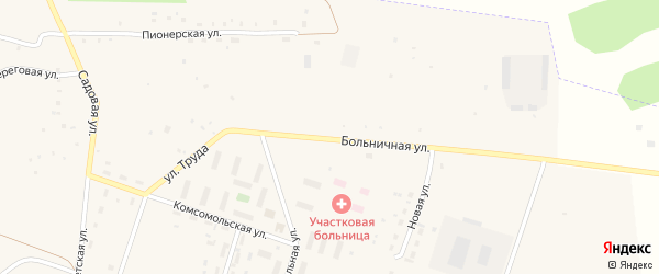 Больничная улица на карте села Новобурино с номерами домов