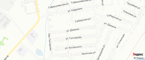 Улица Демина на карте Копейска с номерами домов