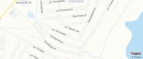 Улица Танкистов на карте Копейска с номерами домов