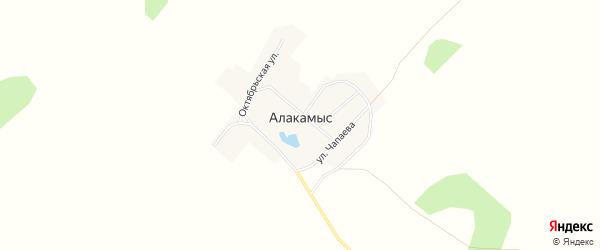 Карта поселка Алакамыса в Челябинской области с улицами и номерами домов