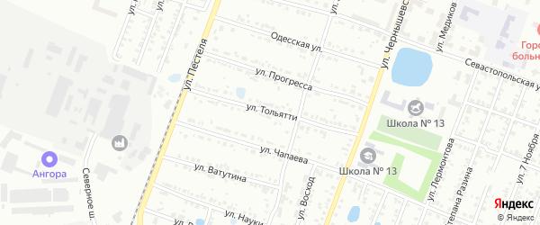 Улица Тольятти на карте Копейска с номерами домов