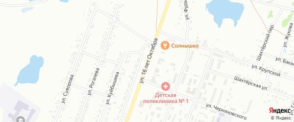 Улица 16 лет Октября на карте Копейска с номерами домов