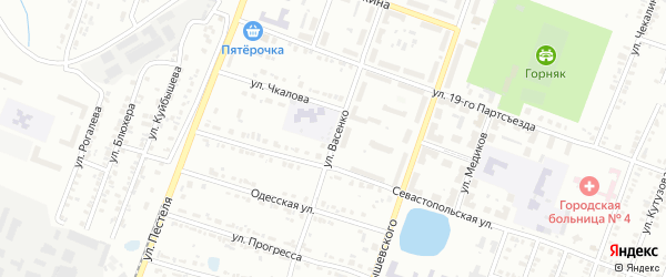 Улица Васенко на карте Копейска с номерами домов