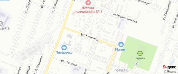 Улица Елькина на карте Копейска с номерами домов