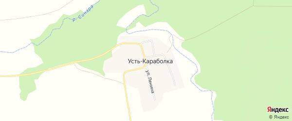 Карта деревни Усть-Караболки в Челябинской области с улицами и номерами домов