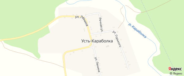 Улица Горького на карте деревни Усть-Караболки с номерами домов