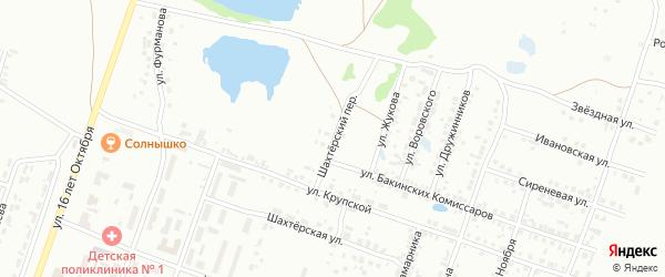 Шахтерский переулок на карте Копейска с номерами домов