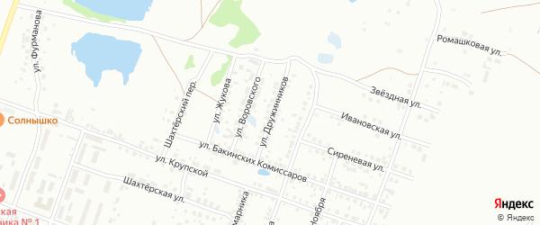 Улица Дружинников на карте Копейска с номерами домов