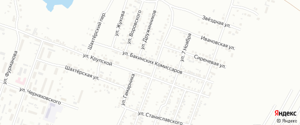 Улица Бакинских Комиссаров на карте Копейска с номерами домов